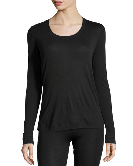 Cashmere-Silk Blend Long-Sleeve Top, Black