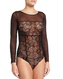 Iris Mesh-Lace Bodysuit, Black