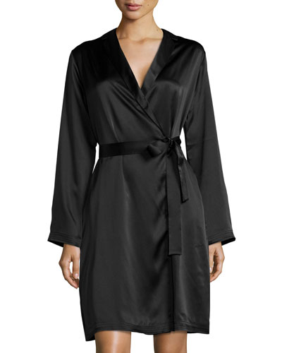 Silk Long-Sleeve Short Robe