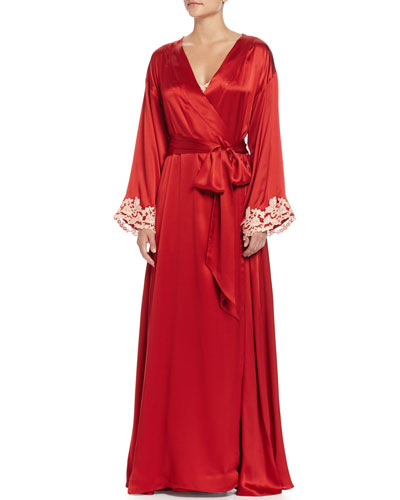 Maison Lace-Trim Long Robe, Red/Gold