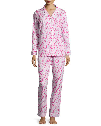 Polka-Dot Long Pajama Set, Pink/White