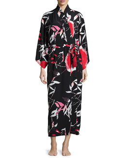 Lana Floral-Print Long Wrap Robe, Black Multi