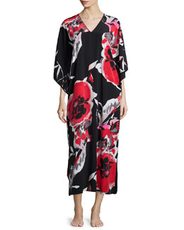 Lana Drop-Sleeve Lounge Caftan, Black/Multicolor