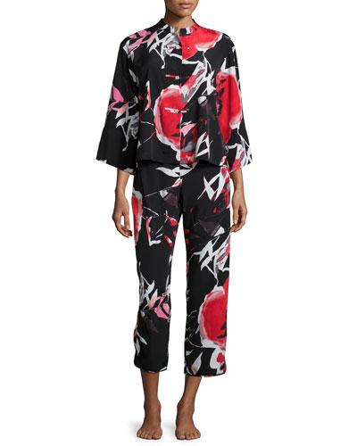 Lana Floral-Print Pajama Set, Black Multi