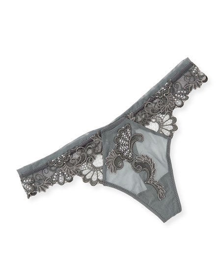 Dressing Floral-Lace Thong, Ambre Nacre