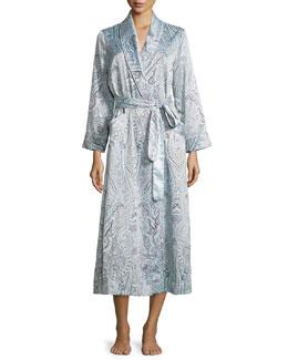 Brushed-Back Satin Paisley-Print Satin Long Robe