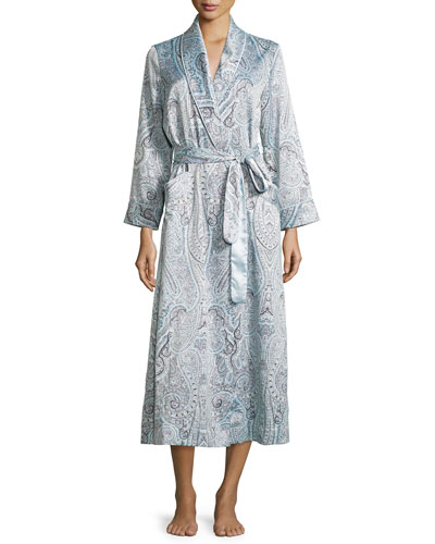 Brushed-Back Satin Paisley-Print Satin Long Robe