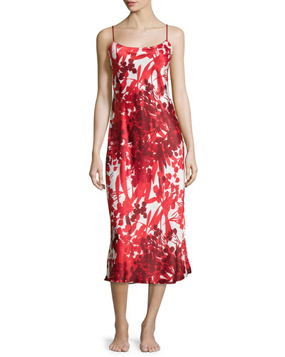 Ottoman Floral-Print Long Satin Gown, Cranberry