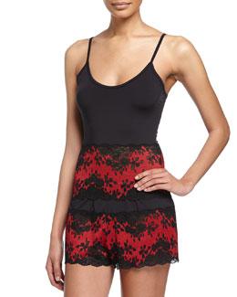 Italia Lace-Trim Camisole, Black/Red