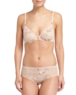 Serenity Floral-Embroidered High-Rise Briefs, Sheer Blush