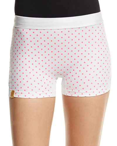Booty Boost Dot-Print Sport Shorts, White/Neon Pink