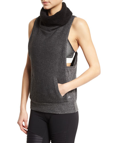 Frost Winter Sleeveless Sport Sweater, Dark Heather Gray