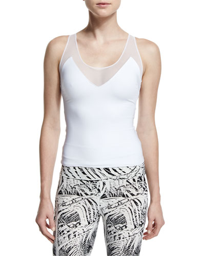 Racer Deep V-Neck Athletic Tank, White