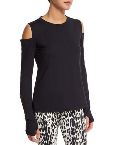 Rennie Cold-Shoulder Sport Sweater, Black