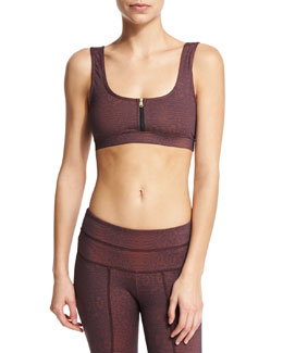 Beth Sports Bra W/Front Zip, Claret Crocodile