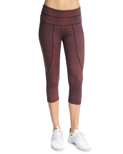 Pico Cropped Sport Leggings, Claret Crocodile