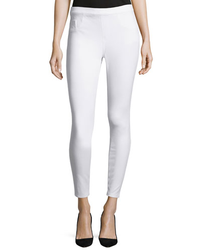 Cropped Knit Leggings, White