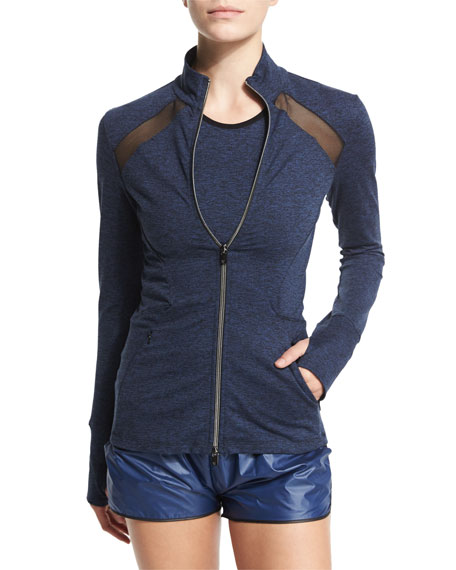 Heroine Sport Studio Heathered Jacket W/Mesh Panels, Heather/Navy