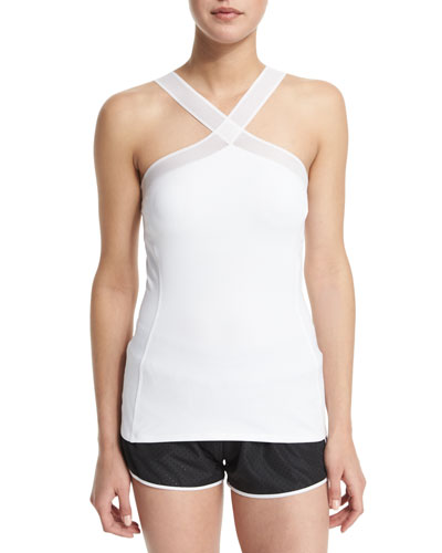 Halter-Neck Athletic Tank Top, White