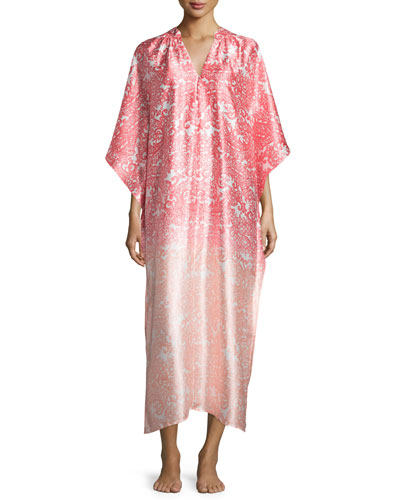 Regal Paisley Satin Charmeuse Zip-Front Caftan, Pink