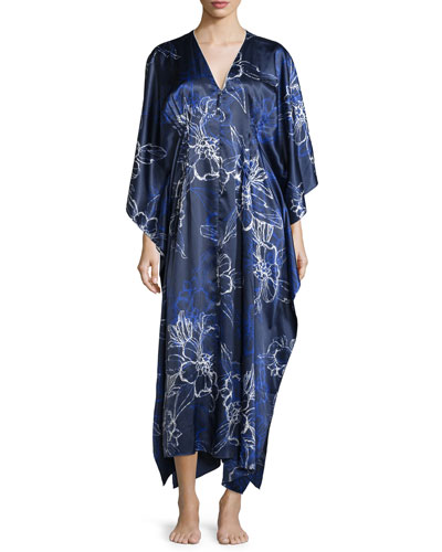 Floral Charmeuse Zip Caftan, Blue