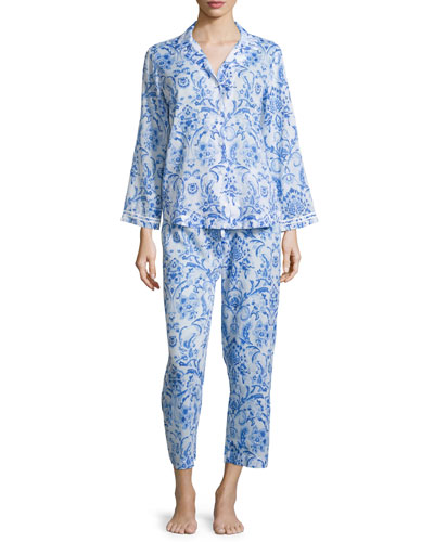 Printed Lawn Pajama Set, Blue
