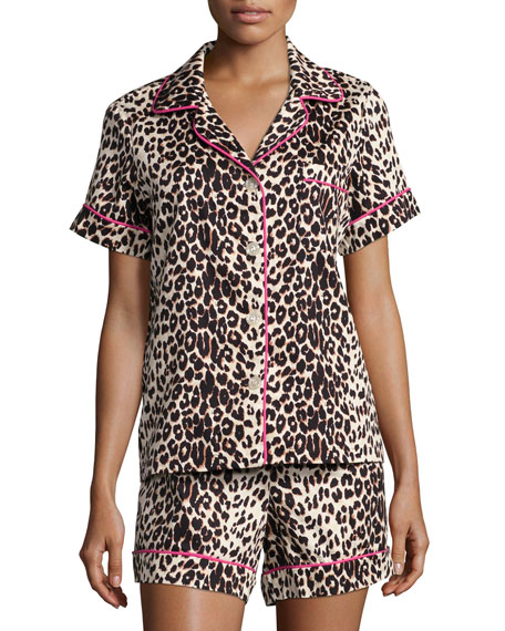 Bedhead Wild Thing Printed Shorty Pajama Set, Leopard