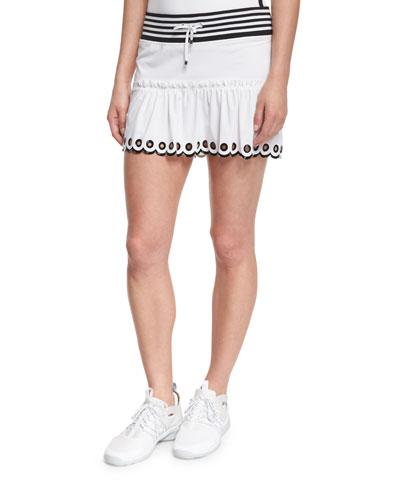 Ombre-Trim Sport Skirt, White