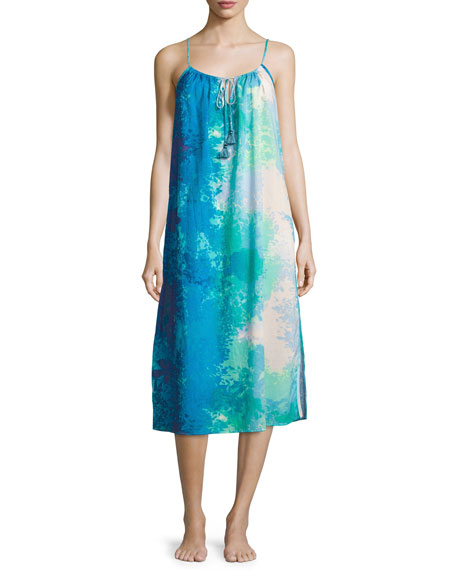 Floral Stream Printed Cotton Gown