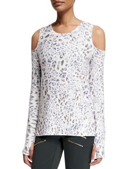 Grant Leopard-Print Cold-Shoulder Sport Sweater