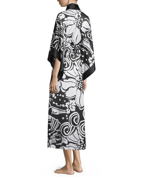 Tuvala Floral-Print Robe, Black