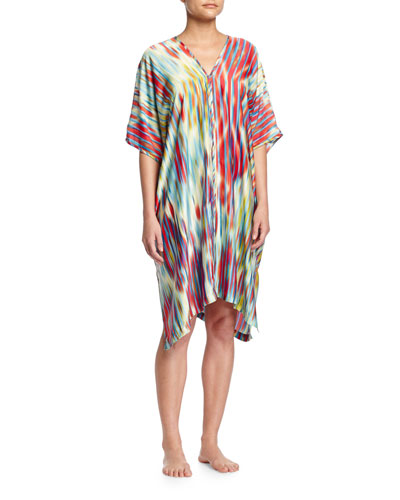 Waterfall Ikat-Print Short Lounge Caftan, Bright Blue/Multi