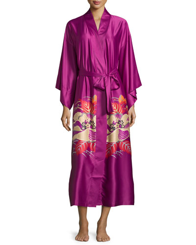 Imperial Floral-Print Wrap Robe, Purple Haze