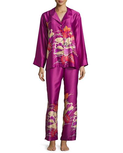 Imperial Floral-Embroidery Pajama Set, Purple Haze