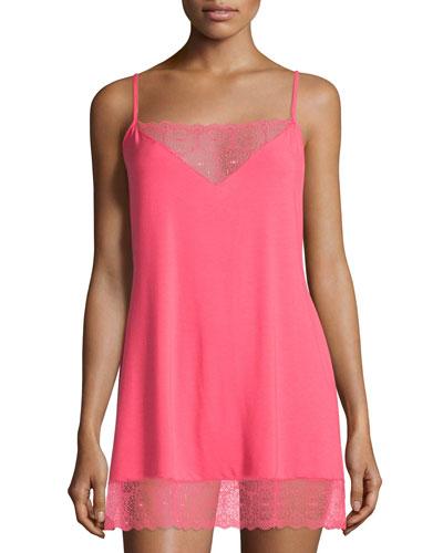 Tamaya Lace-Trim Chemise, Paradise Pink