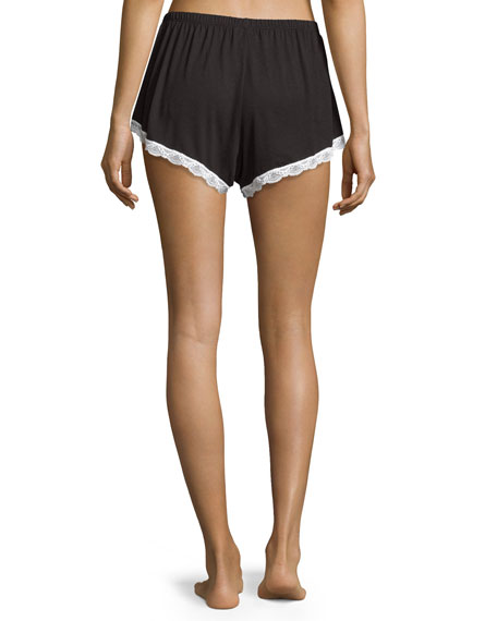 Majestic Lace-Trim Boxer Shorts, Black/White