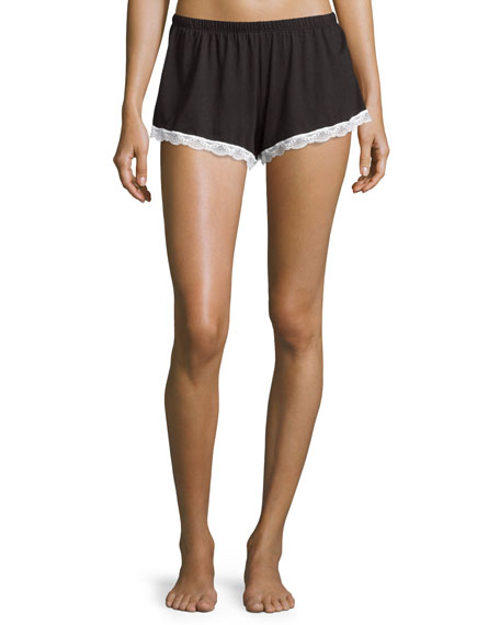 Majestic Lace-Trim Boxer Shorts, Black/White