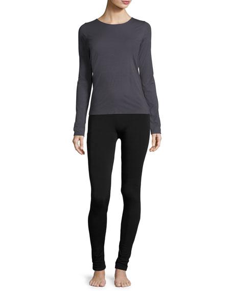 Stretch-Knit Leggings, Black