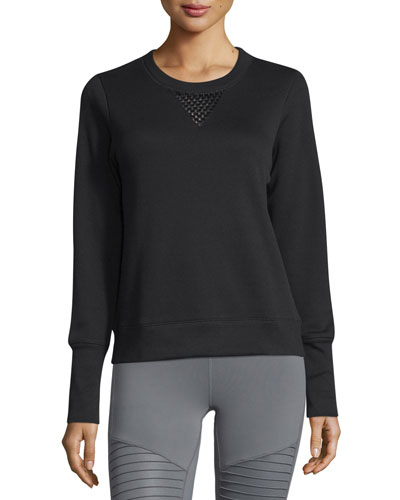 Downtown Mesh-Panel Long-Sleeve Sport Pullover