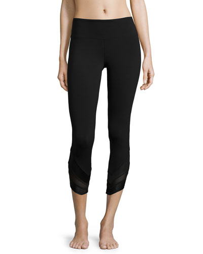 Edge Mesh-Panel Capri Sport Leggings, Black
