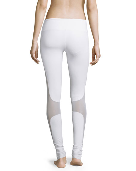Coast Mesh-Panel Sport Leggings, White