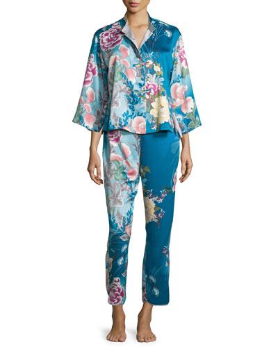 Serene Floral-Print Pajama Set, Seaport Blue