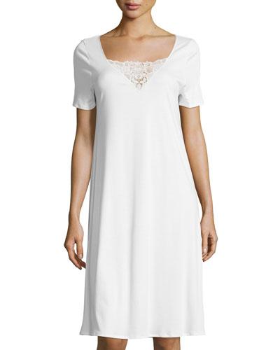 Vittoria Short-Sleeve Nightgown, Off White