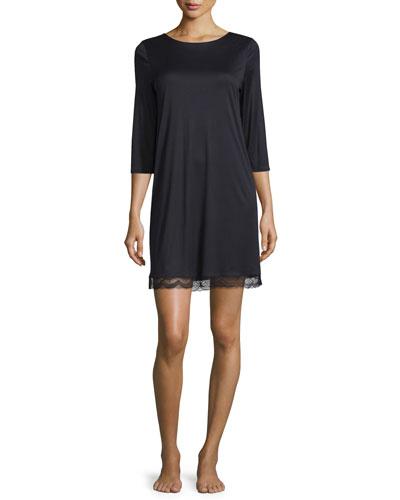 Eleonora Long-Sleeve Sleepshirt, Black