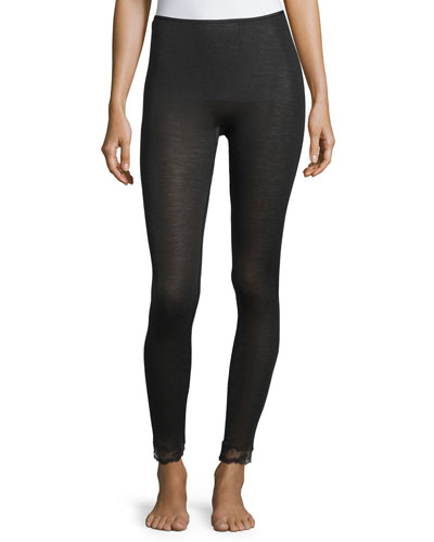 Woolen Lace-Trim Leggings, Black
