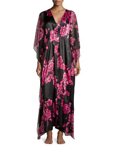 Floral-Print Charmeuse Caftan, Black/Pink