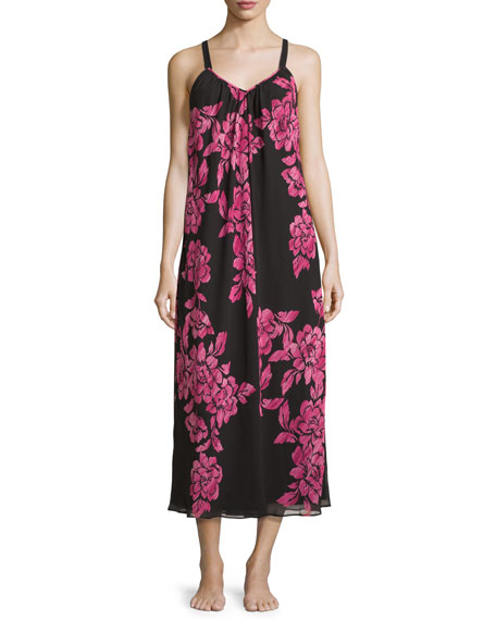 Floral-Print Charmeuse Nightgown, Black/Pink