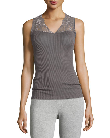 Seraphina Lace-Trim Wool-Silk Blend Tank Top, Warm Gray