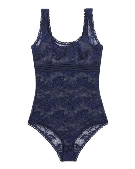 Sheer Lace Bodysuit, Dark Ink Blue