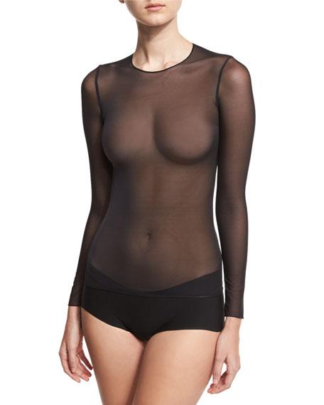 Technical Mesh Long-Sleeve Top, Black